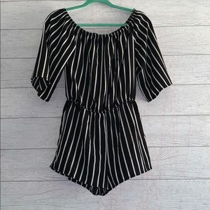 Ambiance Black and White Striped Romper